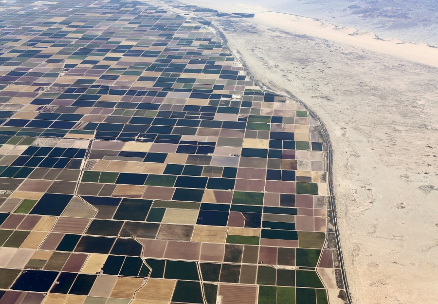 Agricultural farm land is shown next to the desert in the Imperial valley near El Centro, California May 31, 2015. California is enduring its worst drought on record.  REUTERS/Mike Blake       TPX IMAGES OF THE DAY - RTR4Y9V5